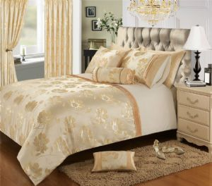 CREAM GOLD COLOUR STYLISH FLORAL JACQUARD DUVET COVER LUXURY BEAUTIFUL GLAMOUR BEDDING